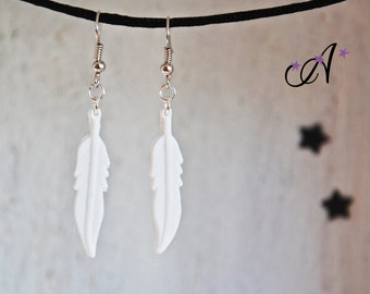 Earrings feather white fimo polymer clay pendants
