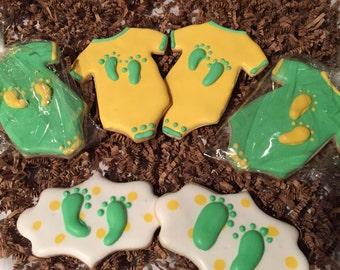 Baby Shower Cookies, girl or boy baby cookies, new baby treats, gifts, celebration cookies, welcome baby cookies