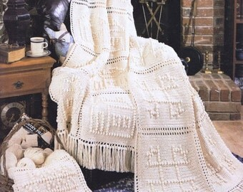 Crochet Afghan Country Granny Squares Throw lap Blanket Pattern, Digital Download