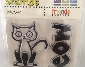"We R Memory Keepers Friends Furever ""Meow"" Cat-Themed Clear Acrylic Scrapbooking Stamp"