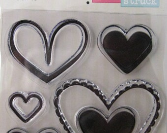 "We R Memory Keepers ""Hearts"" Love Struck Clear Stamps, 5 Clear Acrylic Scrapbooking Stamps 3""x3"""
