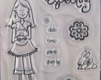 """Studio G """"She's Expecting"""" Clear Stamps Baby Shower Wedding-Themed Clear Acrylic Scrapbooking Stamp - 5 Stamps"""