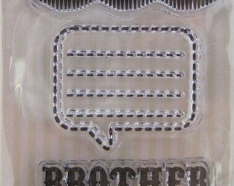 """We R Memory Keepers """"Brother"""" Family Keepsake Clear Stamps, 3 Clear Acrylic Scrapbooking Stamps 3""""x3"""""""