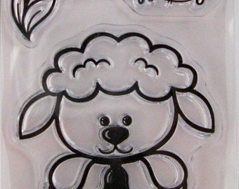 "Hot Off The Press ""Lamb"" Silicone-Based Clear Stamps, 3 Clear Acrylic Silicone Scrapbooking Stamps 3.5""x2.25"""