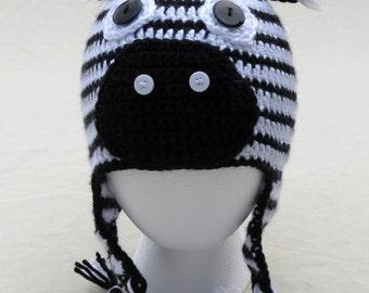Eugene the Zebra, crochet hat, newborn to 3-5 years