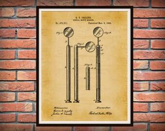 Patent 1892 Dental Mirror - Art Print - Poster - Medical - Dentist Doctors Office Wall Art - Nurse - Orthodontic Dentist Wall Art