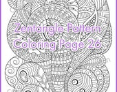 Coloring page for adult and children , PDF zentangle pattern, printable art tangle inspired, digital