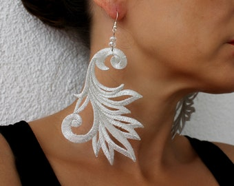 Silver Lace Earrings, Dangle Earrings, Statement Earrings, Lace Jewelry, gift for her
