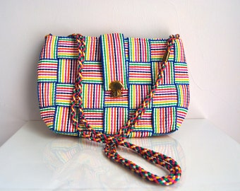 70s Rainbow Stripe Woven Purse With Braided Strap