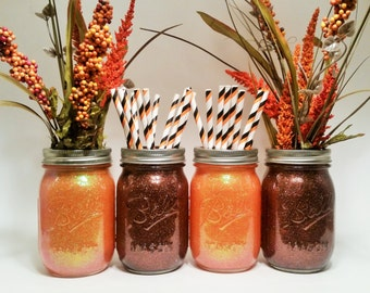 Fall Wedding, Fall Wedding Centerpiece, Thanksgiving Decorations, Glitter Mason Jars, Rustic Decor, Fall Decor, Halloween Party, Set of 4