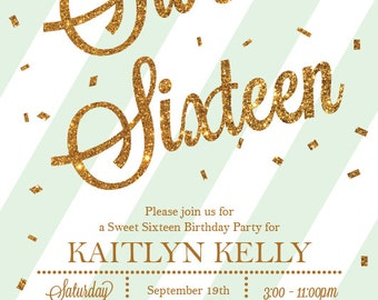 Sweet 16 Invitation, 16th Birthday Invite, Sweet 16, Sweet Sixteen