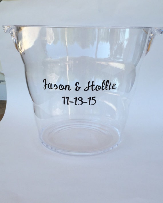 personalized acrylic wine beer ice bucket by georgiangracedesigns
