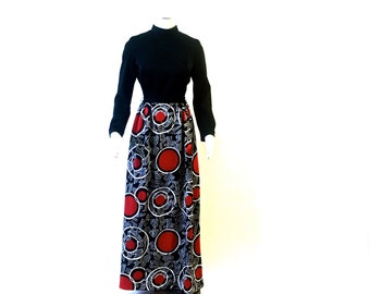 Vintage Full Length Black, Red and White Graphic Dress, Size Small