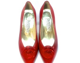 Vintage Red Leather Pumps, size 8.5