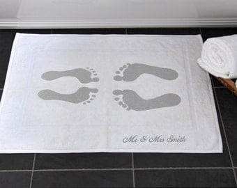 Personalised Wedding Gift, Bath Mat, Cotton 2nd Anniversary, Footprints, Mr & Mrs, Just Married, Choose Any Text