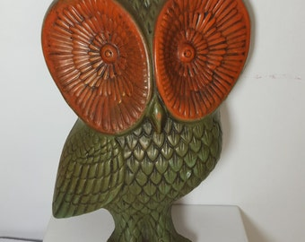 Vintage Green and Orange Owl Wall Plaque