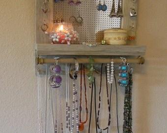 Jewelry Organizer with Blue Pine Wood - Wall Jewelry Organizer - Space Saver Mini