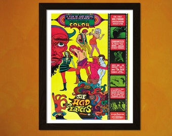 Art Quality Movie Print - Acid Eaters 1968 - Retro Movie Poster Art Reproduction Kitsch Poster LSD Old Movie Print Theater Decor