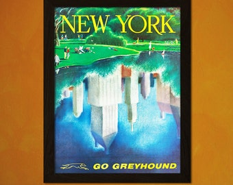 New York Travel Print 1960s - Vintage Travel Poster Travel Decor New York Poster Gift Idea New York Print Travel Wall Art