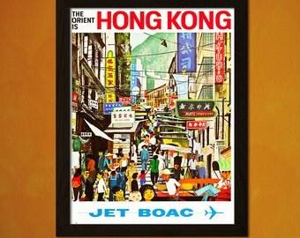 Hong Kong Travel Print 1960s - Vintage Travel Poster Tourism Wall Decor Hong Kong Poster Gift Airline Poster   bpt