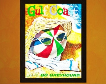 Gulf Coast Travel Print 1960s - Vintage Travel Poster Tourism Art Reproduction Beach Poster Xmas Gift   t