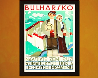 Bulgaria Travel Print 1935 - Vintage Travel Poster Tourism Wall Decor Bulgaria Poster Xmas Gift Vintage Bulgaria    Reproduction