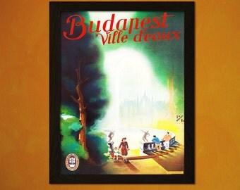 Budapest Travel Print 1930 - Vintage Travel Poster Tourism Wall Decor Budapest Poster Hungary Vintage Budapest   t
