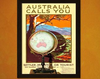 Vintage Australia Travel Print 1928 - Vintage Travel Poster Tourism Wall Decor Australia Poster Art Deco Xmas Gift   Reproduction