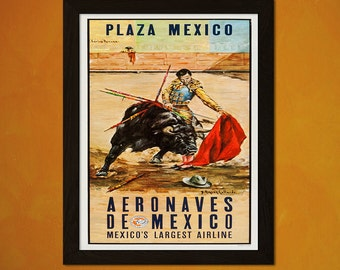 Mexico Travel Print 1960s - Vintage Travel Poster Tourism Art Reproduction  Art Reproduction Mexico Airline Poster   Reproduction