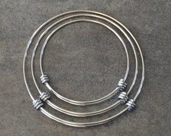 Stainless Steel Adjustable Bangle Bracelet-Expandable Stainless Steel Wire Bangle Bracelet-Charm Bracelet