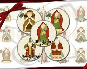Country Santa Claus Bottle Cap Images 1 inch round circles Country Christmas images for bottle caps, bows, party favors and more