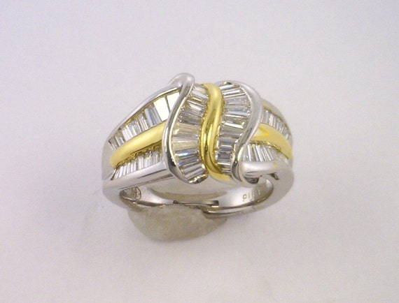 stunning platinum and 18kt yellow gold ring with diamonds