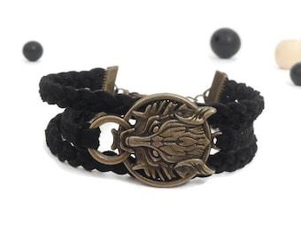 Wolf head bracelet Bronze wolf bracelet Black wolf bracelet Black suede bracelet Wolf charm bracelet Antique bronze wolf charm Men bracelet