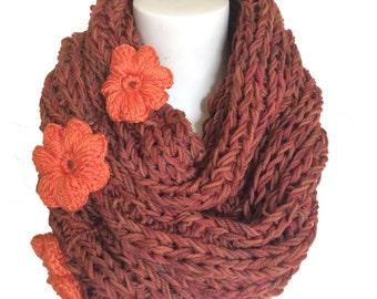 knitted Infinity Scarf, Merino wool