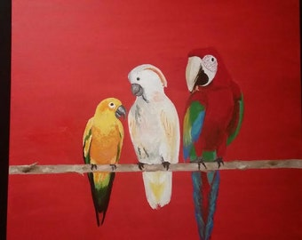 Tropical Birds on a Branch
