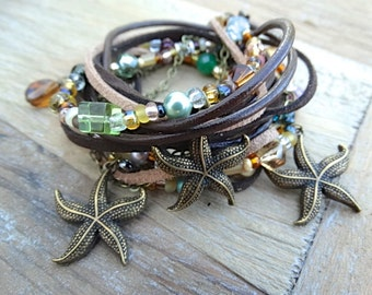 """Signature """"AllStrungOut925"""" Beaded Leather Wrap With Starfish. Brown Triple Wrap Bracelet. Beach Jewelry. Brass Starfish Charms. Earthy."""