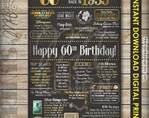 60th Birthday Gift 1955 Instant Download DIGITAL PRINT Chalkboard Poster Sign, 60th Birthday Poster, 60 Years Ago USA Events, Born in 1955