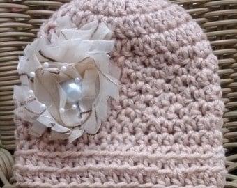 Crochet Baby Hat, Crochet Baby Girl Hat, Baby Shower Gift, Hat, Newborn Hat, Mocha Hat, Photo Prop, Baby Girl Hat