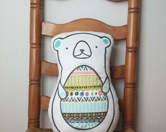 Bear Decorative Pillow - minky - nursery decor - ready to ship
