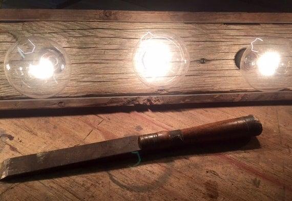 Vanity Light Bulb Bar : 3 Bulb Reclaimed Barnwood Vanity Light bar