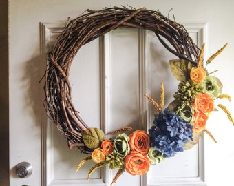Grapevine Wreath with Flowers