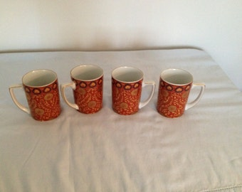 Vintage Neiman Marcus gold Trim Mugs- set of 4