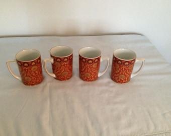 Vintage Neiman Marcus gold Trim Mugs- set of 4