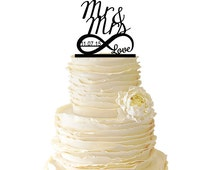 Infinity Symbol With Love - Mr and Mrs - Personalized With Custom Date -  Acrylic or Baltic Birch Wedding/Special Event Cake Topper - 021
