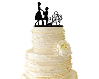 Proposal On One Knee - She Said Yes - Wedding - Special Event - Engagement - Bridal Shower - Acrylic or Baltic Birch Cake Topper - 040