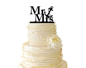 Nautical Mr. And Mrs. With Nautical Anchor Acrylic or Baltic Birch Wedding/Special Event Cake Topper - 022