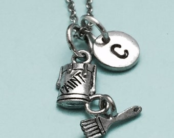 Paint and brush necklace, paint and brush charm, painting necklace, personalized necklace, initial necklace, initial charm, monogram