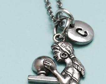 Gypsy necklace, gypsy charm, fortune teller necklace, personalized necklace, initial necklace, initial charm, monogram