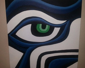 Acrylic painting of Seattle Seahawk on streched canvas