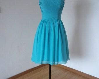 Sweetheart Turquoise Blue Chiffon Short Bridesmaid Dress